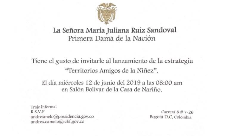 Tarjeta De Invitación De La Primera Dama De La Nación