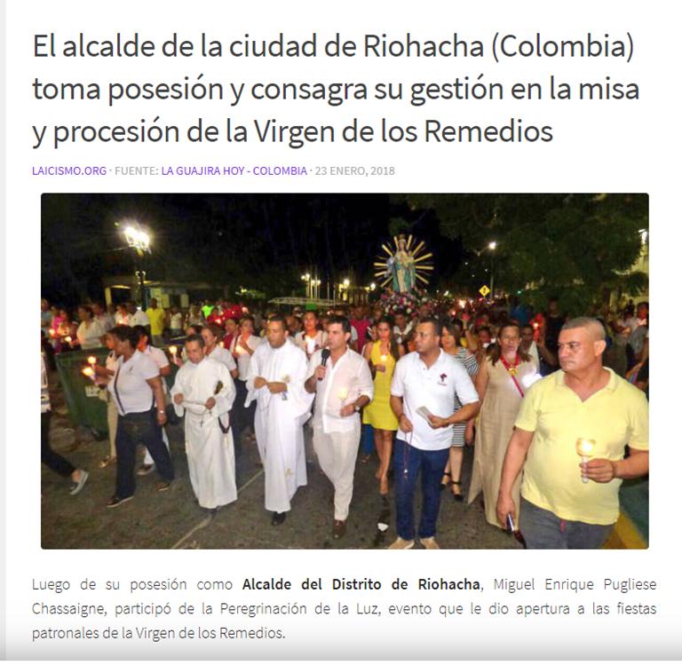 Un acto de Estado con rito religioso de acuerdo con la creencia personal del alcalde